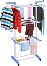Easelife® Stainless Steel 2 poll 3 Layer Clothes Drying Stand for Balcony Clothing Rack Stand with Breaking Wheel System- Colour May Vary