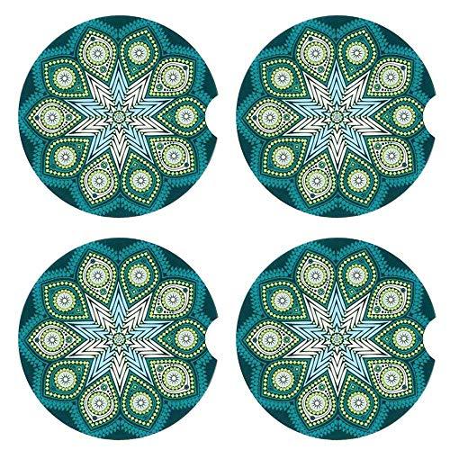 4 Stück Auto-Untersetzer für Becherhalter, Auto-Untersetzer, saugfähiger Stein-Untersetzer, Keramik, Stein-Untersetzer, Mandala-Stil, Grün, 6,7 cm -