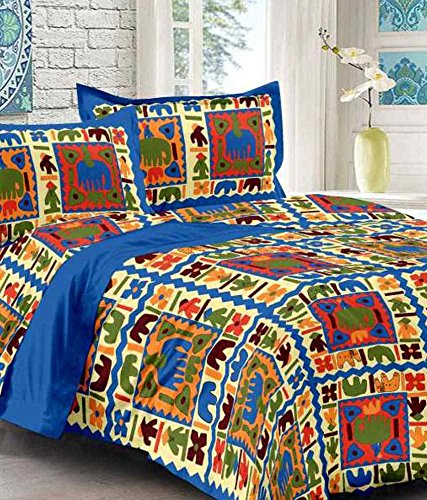 UniqChoice Jaipuri Designer Printed 210 TC Cotton Double Bedsheet with 2 Pillow Covers - Modern, Multicolour
