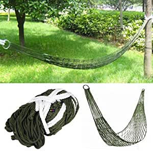 TRIXES Mini amaca di nylon per esercito, campeggio, viaggio, sopravvivenza, relax, dormire o giardino 245 X 190