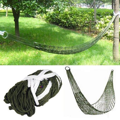 TRIXES Hamac nylon mini de voyage vert armée pour camping ou jardin