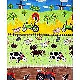 Pingianer - Tela de algodón 100% algodón, 100 x 160 cm, diseño de Tractor, para Manualidades, Costura