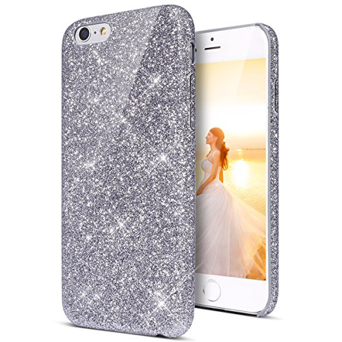 Galleria fotografica Coque iPhone 6S, Coque étui iPhone 6, iPhone 6, étui iPhone 6S, Kuny Fond iPhone 6 6S coque en silicone Paillette, TPU Silicone Cover Custodia Gradient Housse Ultra Fine coque Paillette Strass Bling Bling Brillante Glitter coque Ultra Slim Cristal Clair Gel Housse étui trasparente ibrida Crystal Clear Souple et Flexible Ultra mince TPU custodia in silicone ibrida coque Protection Bumper protecteur Cas Back Case Cover Skin Swag Shell Couverture pour Apple iPhone 6 6S Argento glitterato
