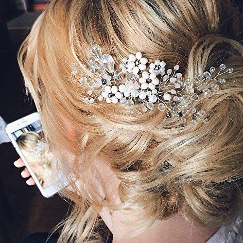 Kercisbeauty da sposa, damigella flower girl tiny cute black beads flower pettine nuziale pettine copricapo accessori per capelli lunghi e ricci chignon, rustico matrimonio