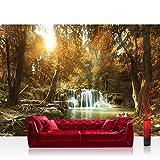 Fototapete Tapete Natur Dschungel Wasserfall Pflanzen Foto 360 cm x 270 cm 84,9