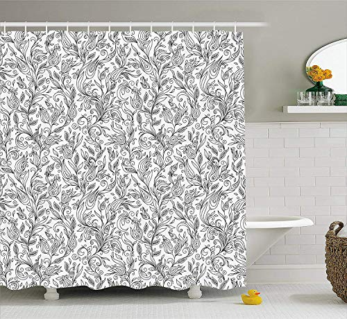Bronze Ivy Leaf (Floral Shower Curtain, Flowers Swirls Ivy with Leaves Eastern Modern Paisley Inspired Image Sketch Art, Fabric Bathroom Decor Set with Hooks, 60x72 inches, Black and White)