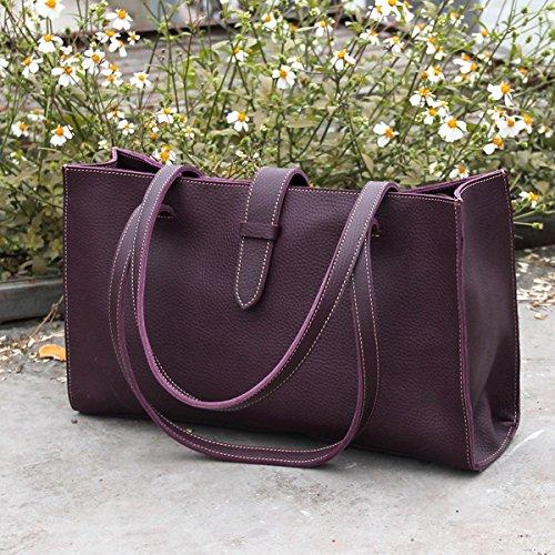 Mode Original sac à main en cuir d'origine en cuir fait main sac à bandoulière pour ordinateur portable Romantic purple