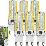 MENGS® Pack de 6 Regulable Bombilla lámpara LED 7 Watt G9, 152x 3014 SMD, Blanco Cálido 3000K, AC 220-240V