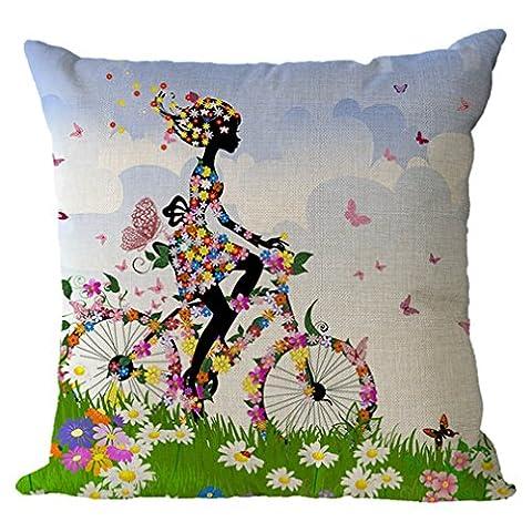 Nunubee Fille et Fleurs de Bande Dessinée Lin 45 x 45 cm Housse de Coussin Oreiller pour Enfants Taie d