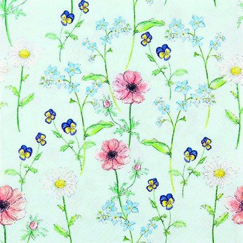 20 Servietten Blumengarten auf mint / Blumen / Garten 33x33cm