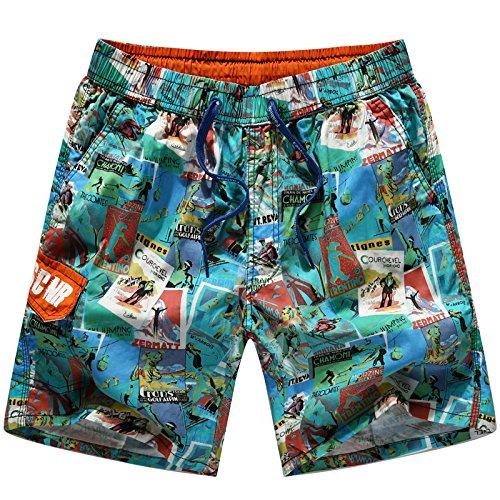 HOOM-Nouveau pantalon de plage d'été occasionnels Shorts hommes Camo coton taille lâche cinq pantalons shorts Green a