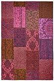 Moderner Teppich Vintage my Milano 571 grau, rot, gelb, grün, pink, rosa shabby look,used look , Flachgewebe, Patchwork (120 x 170 cm, MIL 571 fuchsia, pink, rose)