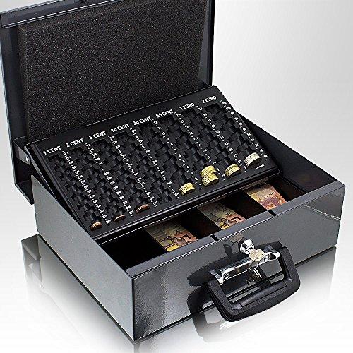 35cm Dunkelgrau Geldtransportbox Geldkassette Münzzählbrett Zähl- und Transportkassette Münzkassette Geld Kasse Geldkasse Transportbox 350mm