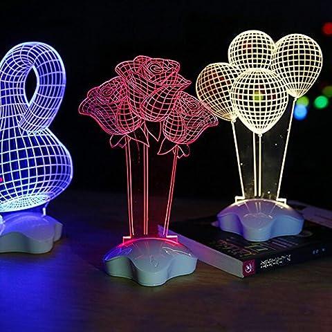 BRILIFE Acryl 3D Illusion Lampe Lampe LED-Nacht moderne art deco Tisch Schreibtisch Lampe für Schlafzimmer und Wohnzimmer, Rose Blume
