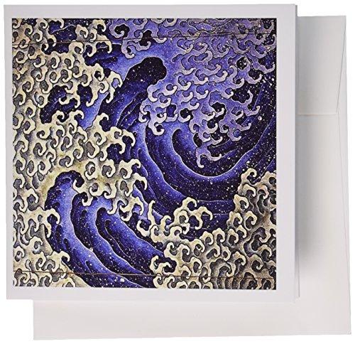 3drose Grußkarten, Bild von japanischen Abstrakte Malerei des berühmten Wave in männliche Form, Set 6(GC_-Schmuck 1)