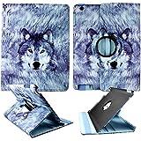 Husky Wolf Apple Ipad 2 / 3 / 4 Leather 360 Rotating Case Cover Hard Phone Ca...