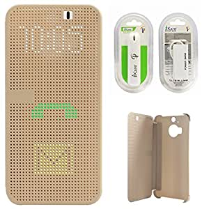 DMG Dot View Interactive Flip Cover Case for HTC One M9 Plus (Gold) + 2600 mAh Power Bank