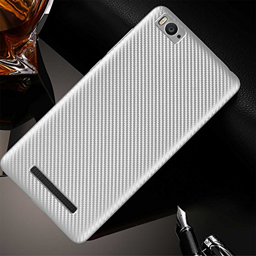 Guran® Hülle Für Xiaomi Mi 4i, Hohe Qualität Raffinierte aus Rutschfestem TPU Weich Case Kohlefaser Elastisch Kratzfeste Etui (Silber)