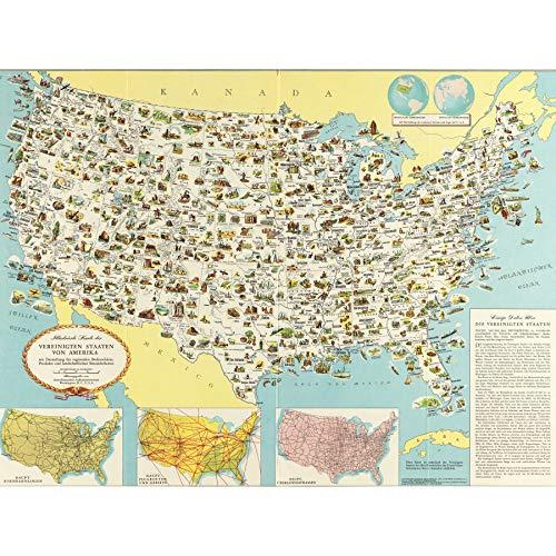 GDC 1950 Pictorial Map USA German Language Extra Large Art Print Wall Mural Poster Premium XL Karte Vereinigte Staaten von Amerika Deutsche Große Kunst Wand (Staaten-map-kunst Vereinigte)