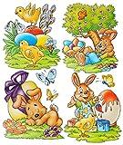 1 Bogen: Fensterbild - Ostern Frühling - Osterhasen & Küken & Osterei - Hasen - statisch haftend - Sticker Fenstersticker