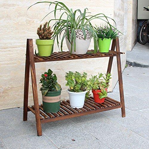 JAZS® Porte-fleurs, Carbonisation en bois Balcons intérieurs simples Pots étagère Étagères de plantes 50 × 69cm protection de l'environnement raffinée ( taille : 50*69cm )