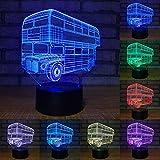 Lampada 3D illusione ottica Inteligente LED Autobus a due piani 7 colori luce notturna lampada da tavolo con cavo di alimentazione USB Regalo per bambini