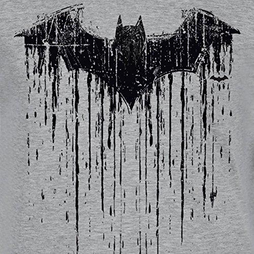 Batman Herren T-Shirt Dripping Logo DC Comics V-Neck grau Grau