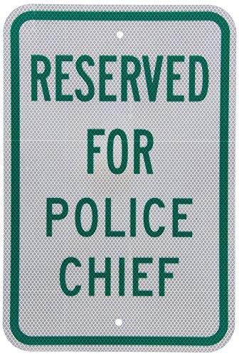 fhdnagfds Diamond Grade Reflektierende Aluminium Schild, Legend vorbehalten für Police Chief, 45,7cm hoch x 30,5cm breit, grün auf weiß