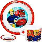 alles-meine GmbH 2 TLG. Set - Tasse + hoher Teller / Suppenteller / Müslischale -  Feuerwehrmann Sam Jones  - inkl. Name - Ø 19,5 cm - aus Melamin / Kunststoff - BPA frei - ..