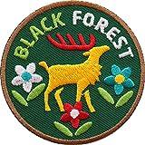 2 x Schwarzwald Black Forest Abzeichen 60 mm / hochwertig gestickte Aufnäher Aufbügler Sticker Wappen Patches für Kleidung Mode Fashion Taschen Rucksack / Hirsch Geweih Hirschgeweih...