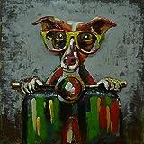 Metal Mural perro motivo Cuadros de pared moderno rollerfahrer 80cm x 80cm