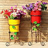 #5: Wonderland Set of 2 Metal Stands with Red and Yellow pot