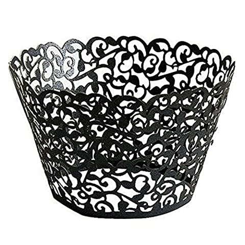 AKA® Little Flower Vine Lace Laser Cut Cupcake Wrappers Wraps Liners Baking Cup Muffin Case Trays Wedding Birthday Party Decoration (100pcs, Black)