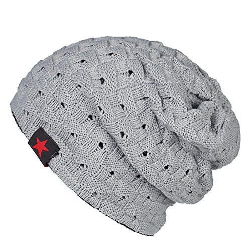 Swallowuk Herren Casual Warm Beanie Mütze Strickmütze Caps Winter Hut (Grau)