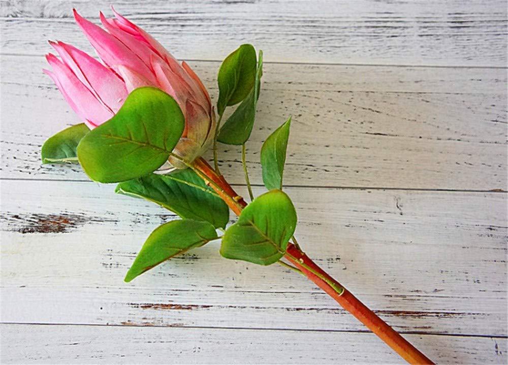 WEC Flores Simulación de flores decorativas artificiales Camelia de tres cabezas Sala de estar Flor falsa Decoración de interiores para el hogar Decoración Arreglo floral de flores Decoración de la m