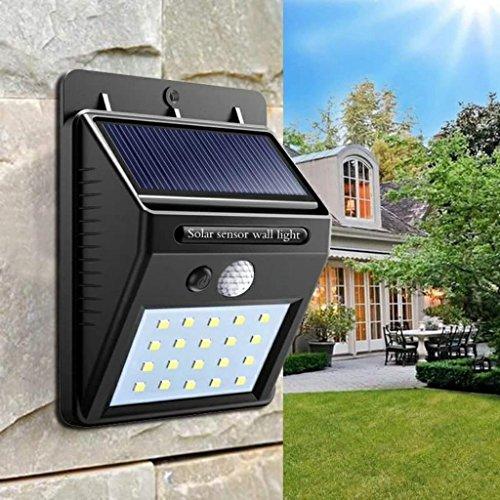 20 LED Solares con sensor de movimiento luz para su jardín,zonas de paso,piscina, entrada de garaje,etcEspecificaciones:Carga: luz solarPeso:150g por unidadLed:20panel Solar: 0.55WResistente al agua: IP65Ángulo de sensor: sector120Distancia de sen...