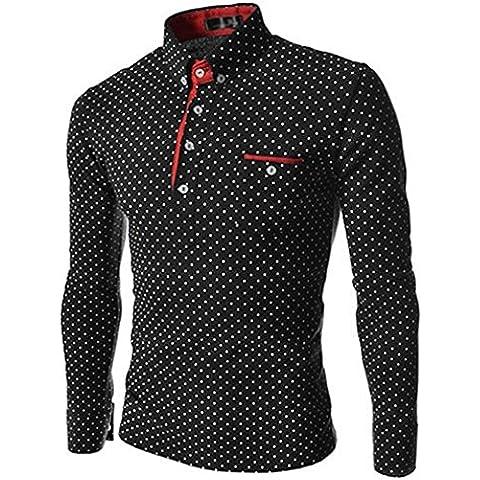 Qissy® Degli Uomini Caldi Pois Manica Lunga Polo Dimagrisce Le Camice Adatte Tee Maglietta (M, Style 1)