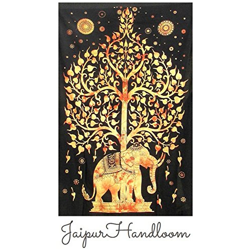 jaipurhandloom-indien-Tapisserie-Murale-Bohme-lphant-sous-arbre-ou-Rsidence-Chambre-mur-tapisserie-Taille-Double-2134-x-1372-cm-JauneNoir