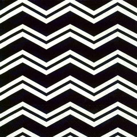 Chevron Noir Blanc Zig Zag-serviettes en Papier 3 plis 33 cm-déjeuner carrée-lot de 20