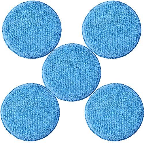 JSCARLIFE Mikrofaser-Pad, 12,7 cm, Blau, Mikrofaser-Reinigungstuch, Autopoliter-Schwamm, Wachsschwamm, 5 Stück