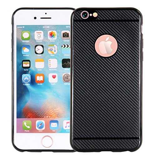 "MOONCASE iPhone 6/iPhone 6s Coque, Fibre de Carbone Flexible Armure Defender Housse Cover Slim Anti-éraflure Antichoc Protection Cases pour iPhone 6/iPhone 6s 4.7"" Noir Noir"