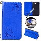 Etsue Leder Brieftasche Hülle für Samsung Galaxy J7 Prime