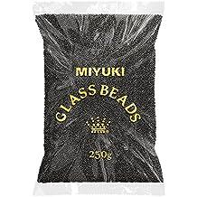 Al por mayor Miyuki Rocailles–Juego de abalorios 11/0Semi mate negro 250g