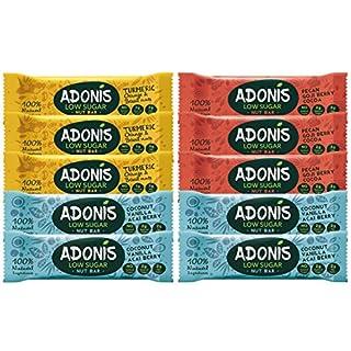 Adonis Low Sugar Nussriegel - Gemischte Box | 100% Natural, Low Carb, Glutenfrei, Vegan, Paleo (10)