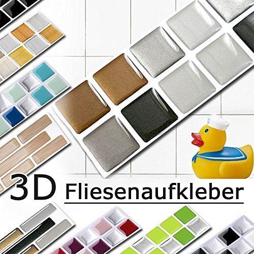 7er Set 25,3 x 3,7 cm kupfer dunkelgrau silber Fliesenaufkleber Design 6 I Mosaik 3D Aufkleber Küche Bad Fliesendekor selbstklebend Grandora...