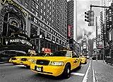 Fototapete SELBSTKLEBEND Papier-(01)-Kein einkleistern, mehrfach klebbar, wieder ablösbar-NEW YORK-272x198cm-8 Teile-Keine PVC, Vinyl, Plastik Folie-Gelbe Taxis Hard Rock Cafe NYC Brooklyn Bridge Manhattan USA Stadt Amerika City Skyline Sunrise Strand Natur Landschaft Auto Insel Meer- Motivtapete Postertapete Bildtapete Wall Mural-deutsches Qualitätsprodukt