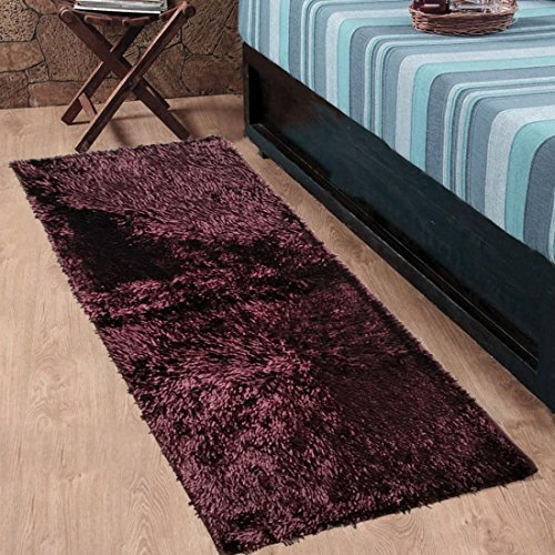 Cloth Fusion Premuim Shaggy Carpet for Living Room 2 Feet x 4.5 Feet (Dark Brown)