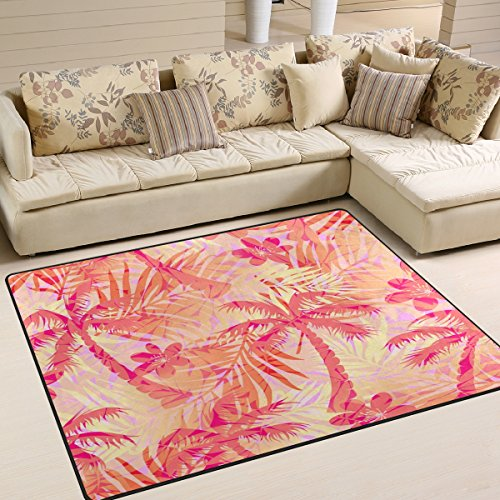 Bereich Teppich, tropischen Palm Hawaii Print Teppich Designer Super Soft Polyester Große rutschfeste Modern Bad-Teppiche für Schlafzimmer Wohnzimmer Hall Abendessen Tisch Home Decor 121,9x 160cm, Textil, multi, 48 x 63 inch