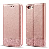 UEEBAI Coque pour iPhone 7 Plus iPhone 8 Plus, étui à paillettes partiel de luxe Bling avec [fermeture magnétique] [fentes pour cartes] [Béquille] PU étui en cuir Flip Cover Case pour iPhone 7 Plus/iPhone 8 Plus - Or rose