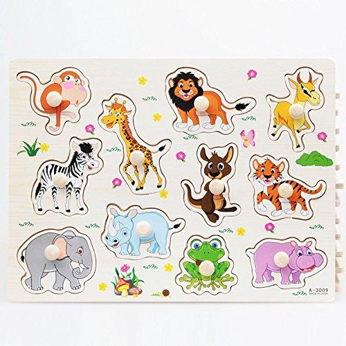 youmiya de madera Animal Puzzle de bebé preescolar Juguetes Aprendizaje Educación Rompecabezas creativo regalos